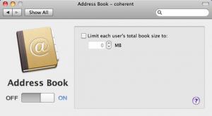 Server Preferences Address Book
